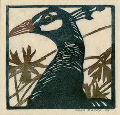 "Peahen, Hans Frank, (1884 - 1948), 1903, color blockprint, 5 5/8 x 5 7/8"", long fibered fine cream wove paper"