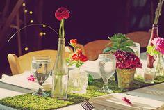 Moss as a table runner. love.