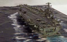 USS Theodore Roosevelt CVN 71 1/700 Scale Model Diorama Scale Model Ships, Scale Models, Military Diorama, Military Art, Model Warships, Uss Nimitz, Adventure Of The Seas, Model Hobbies, Model Airplanes