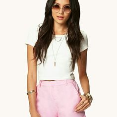 Perfect for SPRING!!! Pink Linen Blend Shorts These are adorable linen blend shorts essential for your spring wardrobe. They have a zip fly with a hook- bar closure and cute gold buttons on the pockets on the back. Lightweight! 54% linen & 46% rayon. Forever 21 Shorts