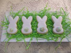 Easter Bunny Glazed Cookies with Sprinkle Tails. | Cookies 006 by Cakes & Cookies on the Lane