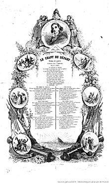 Paroles de l'hyme de guerre Le chant du départ imprimées sans date, circa 1794.