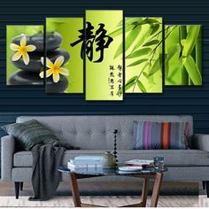 "Free Shipping!  This zen bamboo stone scene from BigWallPrints.com is an affordable way to make an impact in any room! Our panel art is printed on high quality canvas, and will stand the test of time looking great in your space!  Finished Size on Wall: 50"" x 24""  10"" x 24"" x 1 pieces  10"" x 20"" x 2 pieces  10"" x 16"" x 2 pieces"