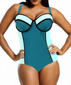 0e44950885 Sexy Strappy Color Bock Plus Size One-Piece Swimsuit For Women Plus Size  One Piece