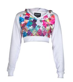 REDFOX Crop top hoodie Long sleeves V neck with hood detail All-over tie dye and paisley print Inner terry lining