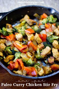 pot paleo chicken curry stir fry--Good list of ingredients to turn stir fry from teryaki (sp?) to curryone pot paleo chicken curry stir fry--Good list of ingredients to turn stir fry from teryaki (sp?) to curry Healthy Recipes, Healthy Dishes, Whole Food Recipes, Diet Recipes, Chicken Recipes, Cooking Recipes, Paleo Food, Recipe Chicken, Quick Recipes