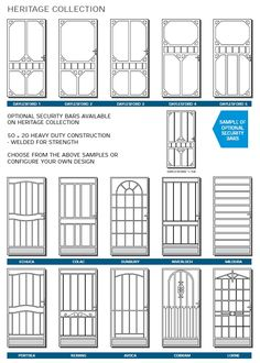 Victoria's most historical, heritage listed period homes use these doors. Traditional Front Doors, Steel Security Doors, Cast Steel, Steel Doors, It Cast, Floor Plans, Exterior, Windows, House Styles