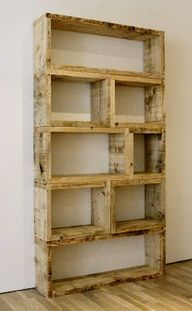 $3 DIY Pallet Bookshelf. Staple/nail some chicken wire over each section. Line with a layer of coconut husk matting. Fill with potting soil. Then another layer of coconut husk and chicken wire to hold it all in. Stand up and plant one or both sides with herbs and small veggies, salad greens, etc. Easy, cheap, outdoor room divider/privacy fence that grows food or flowers in a small space.