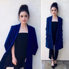 Lucy Hale in monochromatic colors  denim and navy