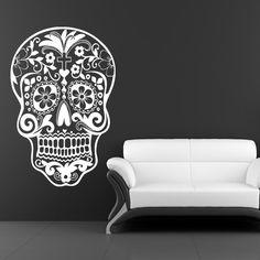 Sugar Skull Wall Decal dia de los muertos Vinyl Sticker Art Mexican Sugar Skull. $34.99, via Etsy. I WANT!