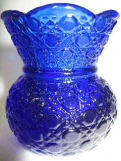 Cobalt Blue glass tabletop toothpick holder daisy and button queen pattern match