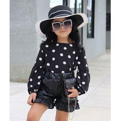 Made with the finest polyester and cotton design, this outfit is very comfortable and flexible for your kids to wear. Sizes: 1 to 6 years old. Weather Wear, Warm Weather, Leather Pants Outfit, Little Girl Outfits, Baby Outfits, Black Kids, Short Tops, Cool Kids, 4 Kids