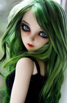 Bjd doll, green hair, beauty