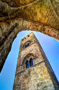 Arch and Tower in the medieval Sicilian village of Erice Medieval Tower, Sicilian, Secret Life, Tower Bridge, Looking Up, Architecture, Building, Travel, Spanish Alphabet