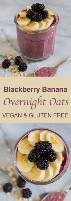 Blackberry Banana Overnight Oats (Vegan & Gluten-Free)