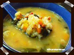 Sopa de verduras con lentejas y arroz, desde Por Mis Perolas. #verduras #lentejas #arroz #sopa #pormisperolas