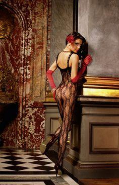 Ruffle Flower Lace Bodystocking – Black - Style No. 177