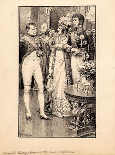 This particular pen & ink illustration appeared in the December 1931 issue of Brittania & Eve. It features Napoleon Bonaparte, Desiree Clary, and Jean Baptiste Jules Bernadotte. Clary was engaged to marry Bonaparte, but he called off the engagement after he became involved with Josephine. Clary later married Bernadotte, who was a leading general in the French Napoleonic army. In 1818, Bernadotte became the King of Sweden, and his wife, who had stayed behind in Paris, later became Queen in…
