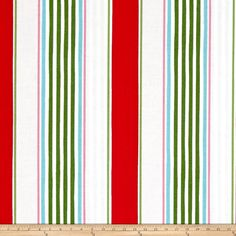 Merry Mistletoe Linen Stripe Red from @fabricdotcom  From Dena Designs for Free Spirit Fabrics, this cotton print collection features bright and whimsical Christmas prints. Colors include red, green, aqua, pink, and white.