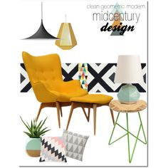 modern geometric midcentury by rere-renove on Polyvore featuring interior, interiors, interior design, home, home decor, interior decorating, Arteriors, Tom Dixon, Gubi and Bloomingville