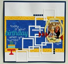 Birthday Squares by Beck Beattie - Scrapbook.com - Use die cut squares as a design element on a layout.