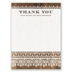 Rustic Barn Wood Lace Wedding Thank You Card