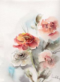 Original Watercolor Painting Watercolour Art Abstract Nature Roses Medium: Saint-Peresburg Watercolor on Strathsmore cold press paper 140 lb (300g)