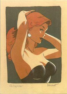 """BERTHET . Ex-Libris """"Pin Up Las Vegas (dé à jouer)"""""""
