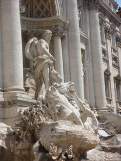 Oceanus and his sea-horses at the Trevi Fountain in Rome Italy