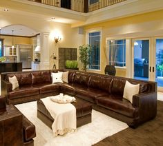 """Elements Fine Home Furnishings Easton Top Grain Leather Sectional in Saddle... love the """"L"""" shape"""