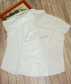 a90addaaa3e Cato Women s Plus Size 18 20W 2X Stretch White Top button shirt Short  Sleeve EUC