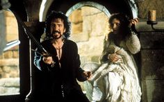 Alan Rickman as the Sheriff of Nottingham:   Guy of Gisborne: Why a spoon, cousin? Why not an axe?  Sheriff of Nottingham: Because it's DULL, you twit. It'll hurt more.