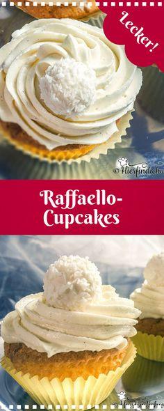 Delicious Raffaello cupcakes with a light cupcake dough and a white chocolate topping. The ideal cupcake for all Raffaello fans. Recipe as always very detailed. The post Raffaello cupcakes with white chocolate and topping appeared first on Food Monster. Easy Cake Recipes, Cupcake Recipes, Baking Recipes, Cookie Recipes, Dessert Recipes, Desserts, Food Cakes, Topping Cake, Raffaello Cupcakes