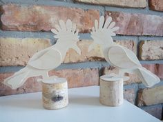Set of 2 Wooden birds, wood standing decor, bird blanks, unfinished wood, for decoupage, living room ornament, wood shapes, plywood
