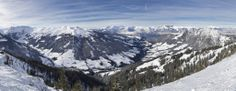 A panoramic view of Alpbach Valley, taken from Eaggeralm/Schatzberg in Wildschonau, Tyrol. The Austrian valley is a fantastic part of the World for skiing Wide Angle Photography, Panoramic Photography, Tyrol Austria, Create Photo, Mount Rainier, Mount Everest, Skiing, To Go, Mountains