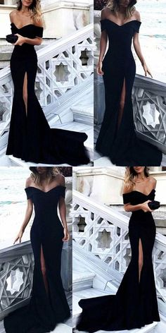 #modestpromdress #newpromdress #2018fashions #newstyles #blackpromdress #slit #mermaid prom dresses,2018 prom dresses,long prom dresses,off the shoulder slit prom dresses,black split evening dresses