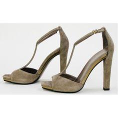 Gucci Grey Suede 'Daisy' T-Strap Heels