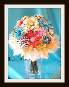 Vintage jewelry bridal bouquet