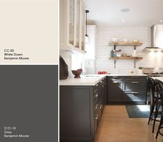 Multi-color kitchen cabinets    charcoal-and-cream-cabinets-benjamin-moore-painters-place.png (641×560)