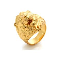 King Ice Jungl Julz 18K Gold Lion Ring ($60) ❤ liked on Polyvore featuring men's fashion, men's jewelry, men's rings, gold, mens yellow gold rings, mens gold rings and mens 18k gold rings