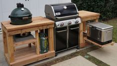 This easy, cost-effective outdoor kitchen island build will turn your grill, smoker and cooler into a cohesive food-and-beverage game-day gathering space. Simple Outdoor Kitchen, Outdoor Kitchen Plans, Backyard Kitchen, Outdoor Kitchen Design, Outdoor Cooking, Outdoor Grilling, Outdoor Kitchens, Building An Outdoor Kitchen, Outdoor Spaces