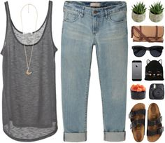 UNAWAKENED by novalikarida featuring a black hatSleeveless shirt / Uniqlo boyfriend jeans / Birkenstock sandals / Taylor Mason brown bag, Birkenstock Outfit, Spring Summer Fashion, Spring Outfits, Casual Outfits, Cute Outfits, Casual Dresses, Short En Jean, Swagg, Passion For Fashion