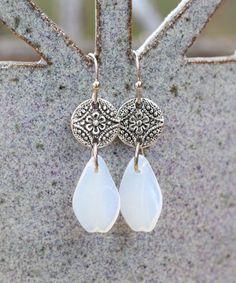White Czech Crystal & Silvertone Petal Drop Earrings #zulily #zulilyfinds