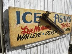 Ice Fishing Sign hand painted vintage fish trap by ZekesAntiqueSigns on Etsy Ice Fishing Tip Ups, Pizza Sign, Fishing Signs, Von Dutch, Rooster Art, Vintage Fishing, Old Antiques, Boating, Wooden Signs