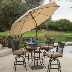 Beige Canopy 9-Ft Patio Umbrella with Push Button Tilt and Bronze Finish Pole