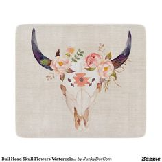Bull Head Skull Flowers Watercolor Illustration Cutting Board March 21 2017 #junkydotcom #zazzle