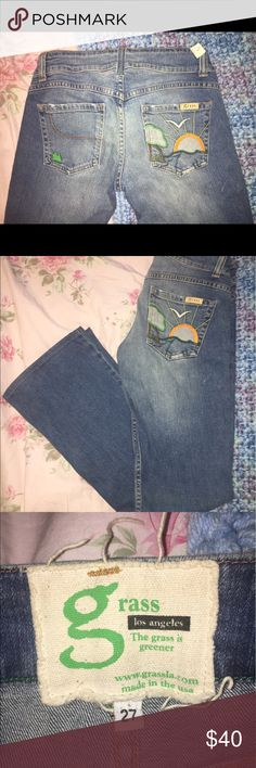 Grass brand jeans Fun and funky pair of flared leg Grass brand jeans with sunset over the ocean with a tree and seagull embroidered on the back pocket. Distressed stitching shown in pics is part of the design. Style name Topanga. Purchased from a consignment shop as motivation to lose a few pounds... 3 years later it's obviously not happening! Consignment shop tag still attached. Size 27. Material 98% cotton 2% spandex. Grass Jeans Flare & Wide Leg