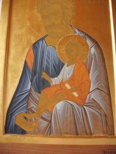 św. Józef z Dzieciątkiem Religious Icons, Religious Art, Icon Clothing, Church Icon, Saint Joseph, Byzantine Icons, Painted Clothes, Art Icon, Holy Family