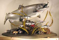 Fish Mounts, Trophy Fish, Bristol Bay, Fish Artwork, King Salmon, Sculpture Painting, Photo Galleries, Sculptures, Carving