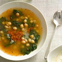 Chickpeas and Swiss Chard in Parmesan and Sun-Dried-Tomato Broth   Top-quality jarred pesto is the key to this soup, contributing a lovely, herby nuttiness. Simmering the soup with a Parmigiano-Reggiano rind adds even more flavor complexity.